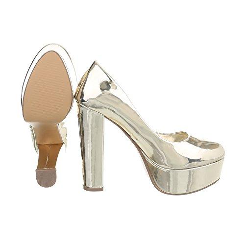 buy popular d889e d4b0b Damen Schuhe YK2240 Damen Pumps Gold ...