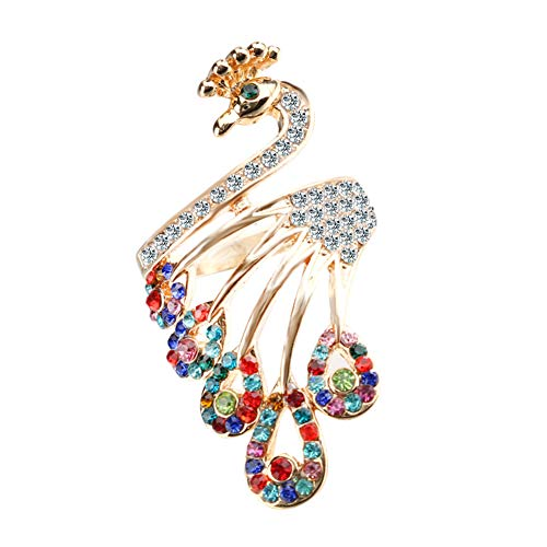 Acamifashion Women Retro Gold-Plated Rhinestones Peacock Shape Finger Ring Jewelry Gifts - Golden 10