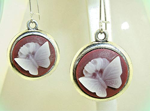 3-D White BUTTERFLY CAMEO Silver-tone Dangle Earrings 1-3/4