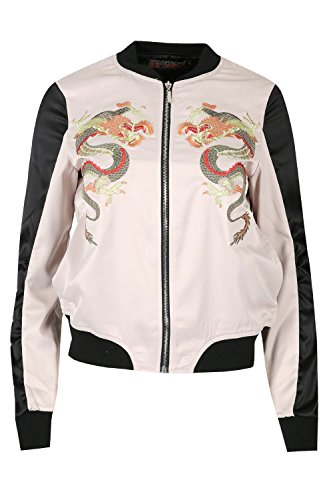 Womens Ladies Dragons Baseball Collar Long Sleeve Pocket Zip Up Bomber Jacket