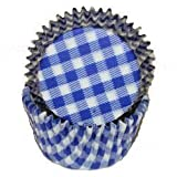 Jubilee Sweet Arts 50 Count Gingham Cupcake Baking Liners, Standard Size, Blue