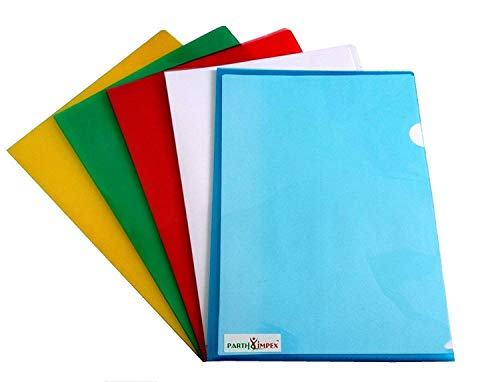 PARTH IMPEX Clear Document Folder Copy Safe Project Pockets (Pack of 15) Plastic Paper Jacket Sleeves in Assorted Colors Scratch Resistant Paper Holders Organizer (W 8.7