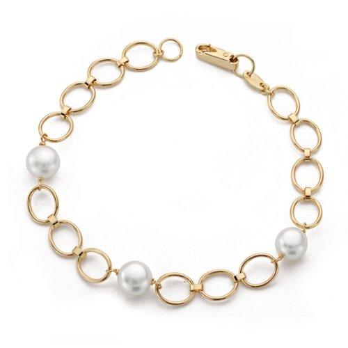 Bracelet ovale 18kt or jaune avec des perles