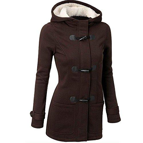 Cropped Outerwear Tech Jacket - HGWXX7 Women's Winter Warm Plus Size Cotton Long Jackets Hooded Outwear Trench Coats(Coffee,XL)