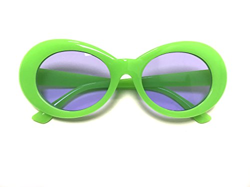 BOLD Retro Oval MOD Thick Frame Clout Goggles Round Lens Sunglasses (Slime Green, - Free Shipping Sunglasses Worldwide