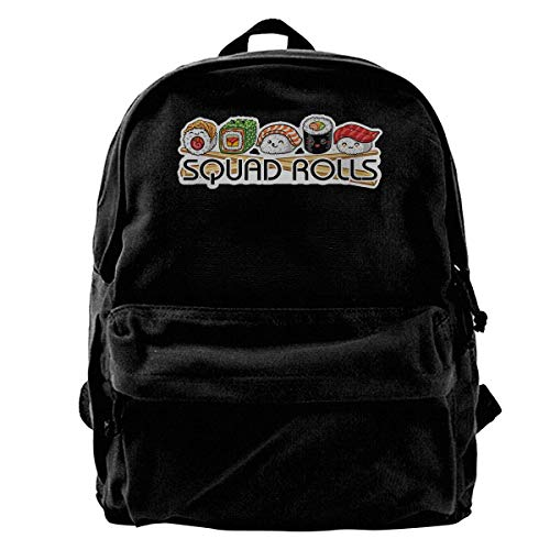 Icon Squad Backpack - Squad Rolls Sushi Unisex Classic Canvas Travel School Backpack Fits 14 Inch Laptop