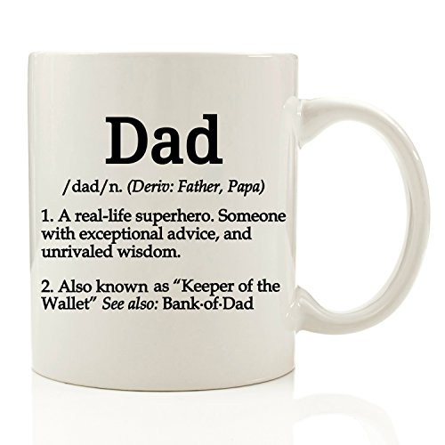 Dad Definition Funny Coffee Mug 11 oz - Top Birthday Gifts For Dad - Gift For Him, Men - Perfect Novelty Christmas Present Idea For Father from Son or Daughter