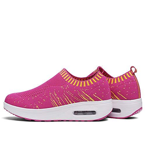 Wedge Gray Toe ZHZNVX Shoes Comfort Blu Estate Primavera scuro da Tulle Shoes Crib Scarpe Round donna Heel Grigio Fucsia Sneakers Walking f7qwRf4