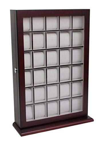 30 Piece Cherry Wood Watch Display Wall Hanging Case and Storage Organizer Box and Stand (Watch Display Case Wall)