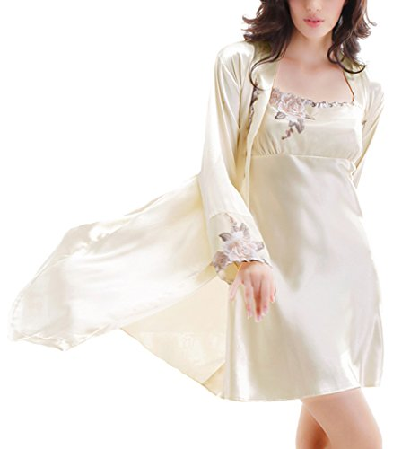 Women Lady Silk Like Embroidered Applique Nightgown and R...