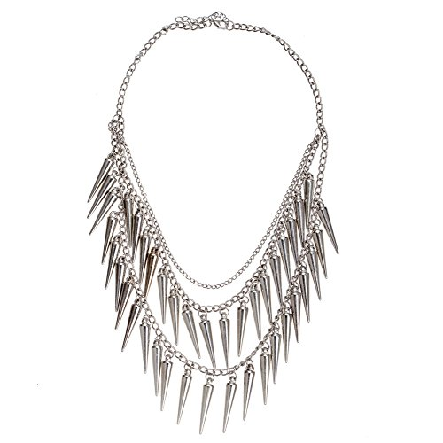 Wristband Pyramid (Trendy Punk Style Double Layered Chunky Necklace With Long Spikes Rivets Pyramids Tassels In Silver Color On Chain By VAGA®)