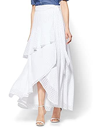 New York & Co. 7Th Avenue Ruffled Wrap-Front Maxi Xsmall Paper White
