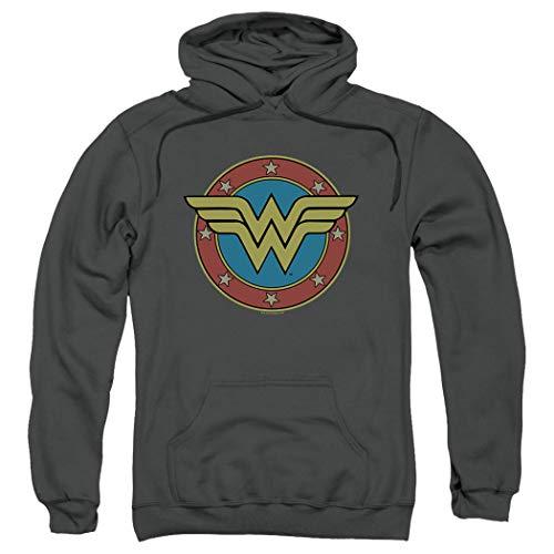 Wonder Woman Vintage Logo DC Comics Pullover Hoodie Sweatshirt & Stickers (Small)