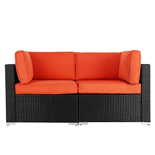 Kinbor 2 PCs Outdoor Garden Furniture Patio PE Rattan Wicker Sofa Sectional Furniture Sofa with Orange Cushions