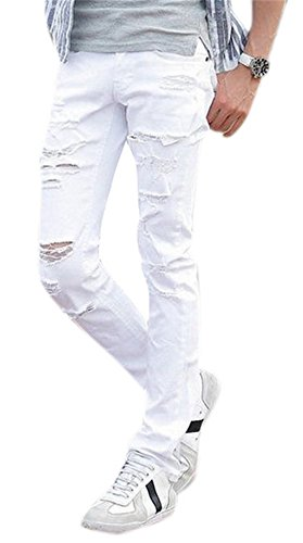 Men's White Torn Skinny Jeans Distressed Ripped Tapered Leg Fashion Denim Pants (Super Skinny Rip Jeans)