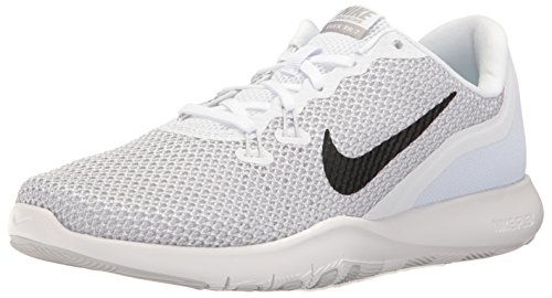 NIKE Women's Flex 7 Cross Trainer, White/Metallic Silver-Pure Platinum, 8 B(M) US