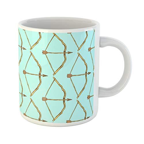 Semtomn Funny Coffee Mug Colorful Arrow Sketch Cute Bow in Vintage Pattern Aim 11 Oz Ceramic Coffee Mugs Tea Cup Best Gift Or Souvenir