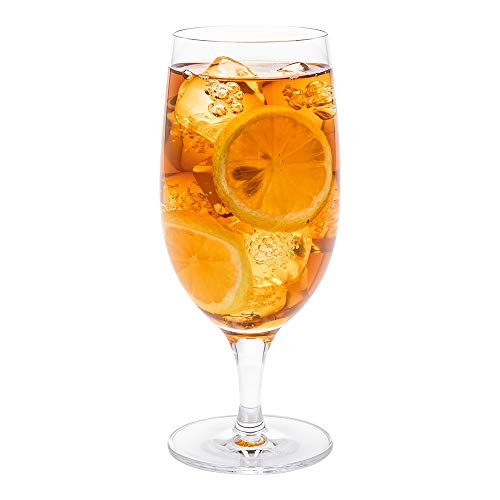 Voglia Nude 16 Ounce Iced Tea Glasses, Set Of 6 Crystal Goblet Glasses – Laser-Cut Rim, Fine-Blown Crystal Water Glasses…