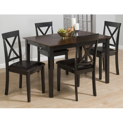Burly Brown / Black Finished 5 Piece Dining Set