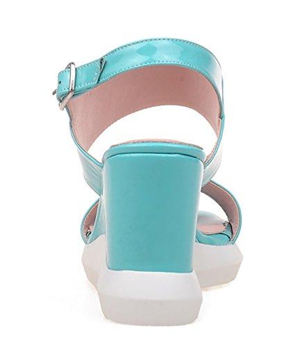 Ouvert Boucles et Plateforme à UH Confortables Douce avec Talons Moyen avec Bleu Sandales Bout Femmes Compensé 1AAw7q6