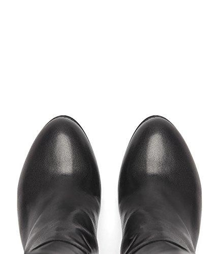 PoiLei Ina - chaussure femme / classiques bottes en cuir à talon haut epais - avec bout ronde / elegantes et sophistiquées noir