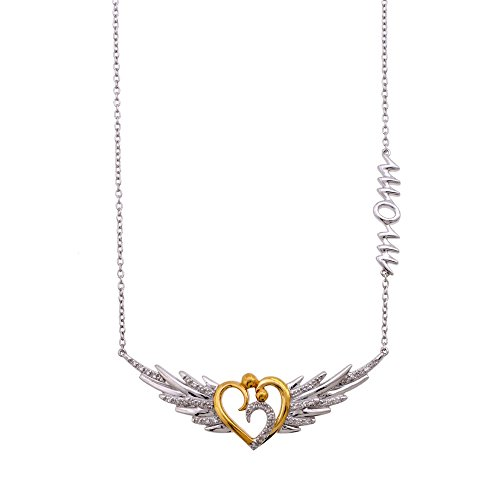 Sterling Silver Angel Wing Mom and Child Heart Diamond Necklace (1/8 Carat)