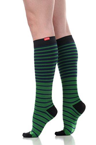 VIM & VIGR Womens 15-20 mmHg Compression Socks: Falling Stripe - Green & Black (Nylon)