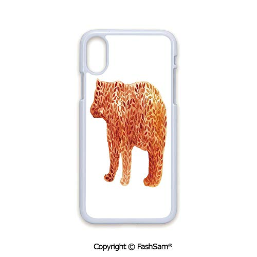 - Phone Case Compatible with iPhone X Black Edge Hand Paint Watercolor Bear Silhouette with Autumn Branches Leaves 2D Print Hard Plastic Phone Case