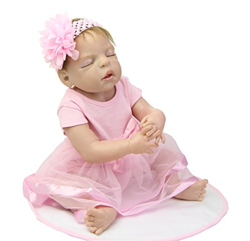 NPK 22 Inch Handmade Sleeping Reborn Baby Dolls Full Silicone Realistic Girl Babies Dolls Children Birthday Gift Free Magnet Pacifier Dummy