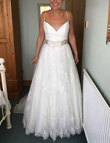 FJMM Womens Bling Bling Spaghetti A-line Wedding Dresses Long Train Lace Bridal Gowns with Belt