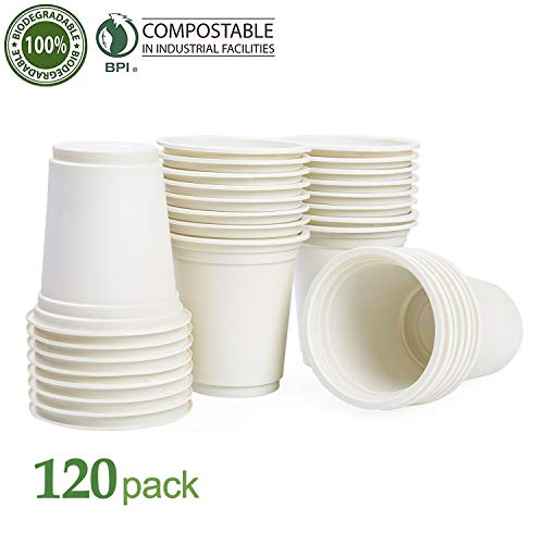 KAISHANE Biodegradable Cup 120 Pieces Composable Eco Friendly Disposable Cups 12 oz PLA Plant-Based Plastic Beverage Cups For Wedding & Party.