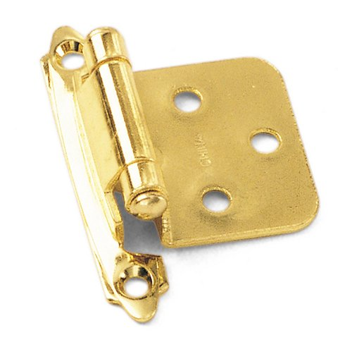 Laurey 28737 No Inset Face Mount Self-Closing Hinge, Polished Brass, 2-Pack