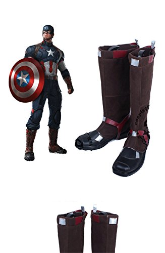 Avengers Captain America Civil War Steve Roger cosplay costume Boots Boot Shoes Shoe (Custom Made Captain America Costume)
