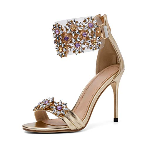 - Mayou Women's Stiletto Heeled Sandal, High Heel Summer Sandal Shoes Ankle Strap Transparent Clear Strip Dress Shoes with Beadeed Rhinestone Crystal for Weeding,Party,Shopping,Formal Pump(10.5 M US)