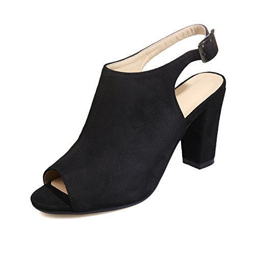Open Back Ankle Boots (Inornever Fall Ankle Boots Sandal Women Suede High Heel Slingback Buckled Peep Toe Bootie Shoes Black 8 B (M) US)