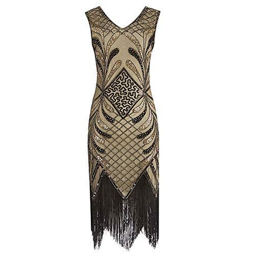 Women Vintage 1920s Flapper Dress Ladies Costume Dress Fringed Fashion Sequin Slim Dress,XX-Large,Gold ()