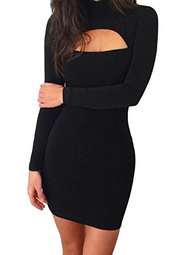 Women Tunic Wild Comfy Solid Bodycon Top Hi Basic Mini Neck Black Dress dO8q8pW