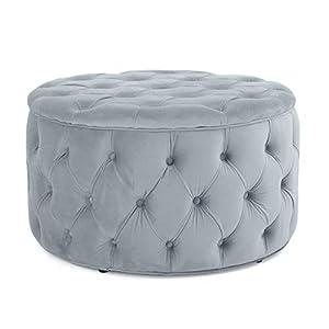 Great Deal Furniture Provence Light Grey Tufted New Velvet Ottoman