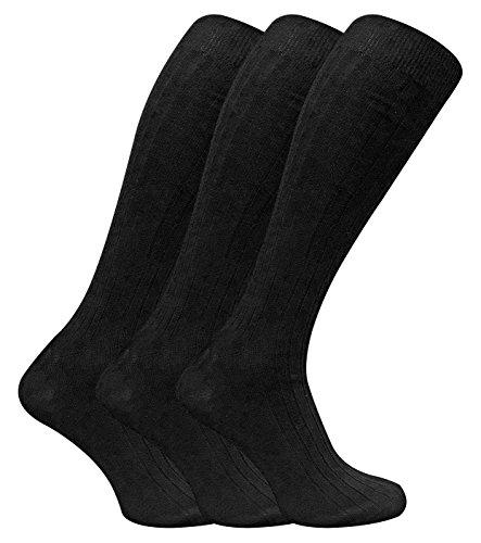 3 Pack Mens 100% Cotton Over the Calf Knee High Lightweight Ribbed Dress Socks (7-12 US, XLCS Black)