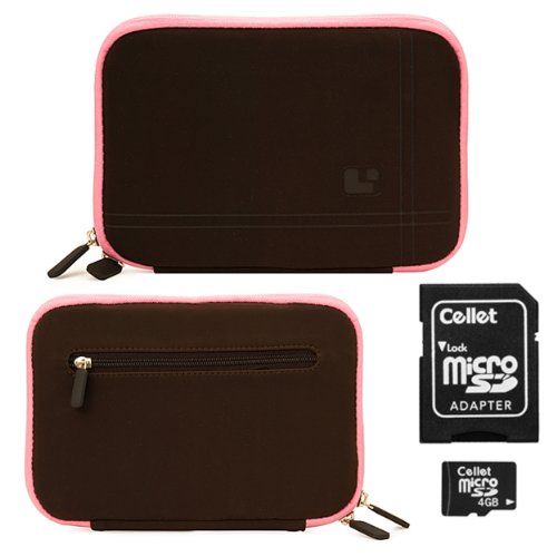 Brown with Pink Trim Smart Aero Protection Design Slim Soft Suede Cover Carrying Sleeve Case with Extra Accessory Back Pocket for Pandigital Nova 7 Tablet + Includes 4-inch ebigvalue Determination Hand Strap + Micro 4 GB Flash Memory Card with MicroSD Adaptor