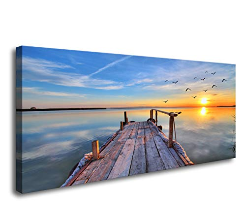 Baisuart-Framed 5 Panels Beautiful Sunset Seascape Painting Canvas Art Nice Sky Pictures Modern Prints Wall Art for Home Decoration Dining Living Room Kitchen Bathroom Bedroom Office
