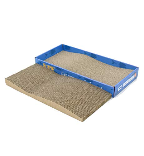 2 in 1 Cat Scratching Post with Catnip Kitten Scratcher Toy 2 Packs Pad Cardboard and Refill (2 - Designs Furniture Allure