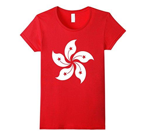 Womens Hong Kong Flag T-Shirt Five Petal Orchid Tree Graphic Tee Small - Woman Hong Kong