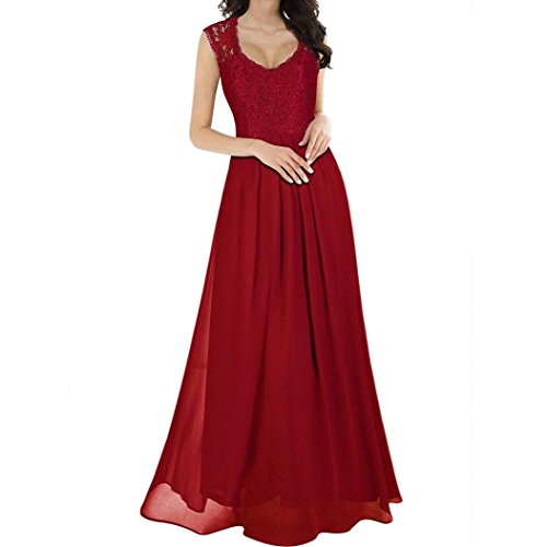 Alimao Womens 2018New Chiffon Ankle-Length Maxi Dress Bridesmaid Evening Party Ball Formal Gown Pleated Dress Red