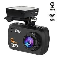 TOGUARD Caméra De Voiture WiFi Avec GPS Logger Dashcam Full HD 1080P, LDWS, G-Sensor, WDR, Moniteur De Stationnement, Enregistrement En Boucle, Support Filtre CPL (Non Inclus)
