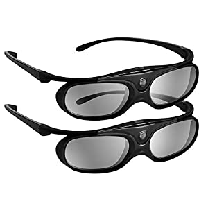 BOBLOV DLP Link 3D Glasses Active Shutter 144Hz Rechargeable 3D Eyewear for All DLP-Link 3D Projectors Compatible with BenQ, Optoma, Dell, Acer, Vivitek, Viewsonic DLP Projector (Black- 2Pack)