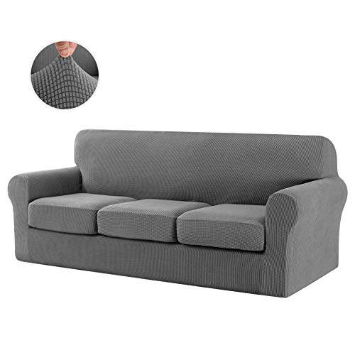 CHUN YI Stretch Sofa Slipcover Separate Cushion Couch Cover, Armchair Loveseat Replacement Coat for Ektorp Universal Sleeper, Checks Spandex Jacquard Fabric (Large,Light Gray)
