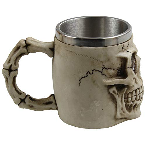 (Naktdh Coffee Cup, 3D Skull, Double Stainless Steel, Mug Bone, Ghost Coffee,Frontal Skull Cup)