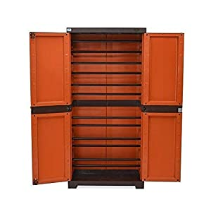 Nilkamal Fabric Freedom Mini Shoes Cabinet (Rust and Weather Brown)