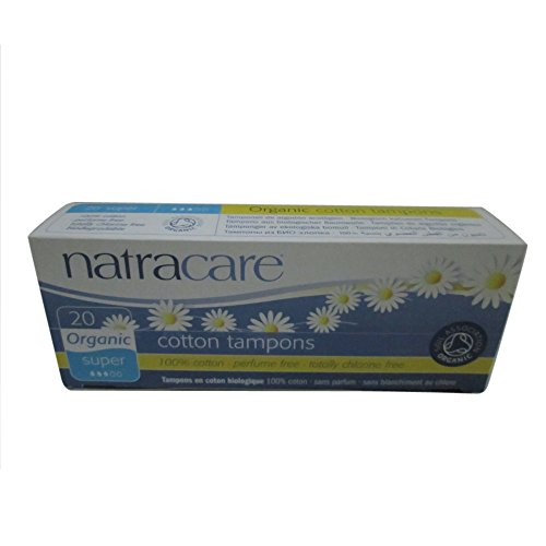 Natracare 2000 Organic All Cotton Non-Applicator Tampons 20 Count, 3 pack (Chlorine Free Tampons Non Applicator)